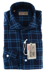 New $325 Barba Napoli Blue Plaid Shirt - Extra Slim - 14.5/37 - (BN60092703)