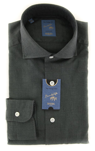 Barba Napoli Olive Green Shirt - Extra Slim