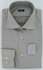 Barba Napoli White and Brown Shirt – Size: 15.5 US / 39 EU