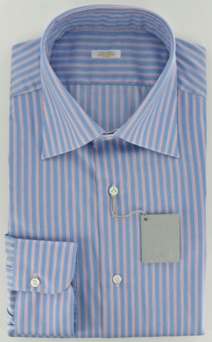 Barba Napoli Pink and Light Blue Shirt – Size: 17.5 US / 44 EU