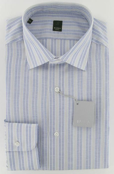 New $325 Barba Napoli Blue Shirt 17/43