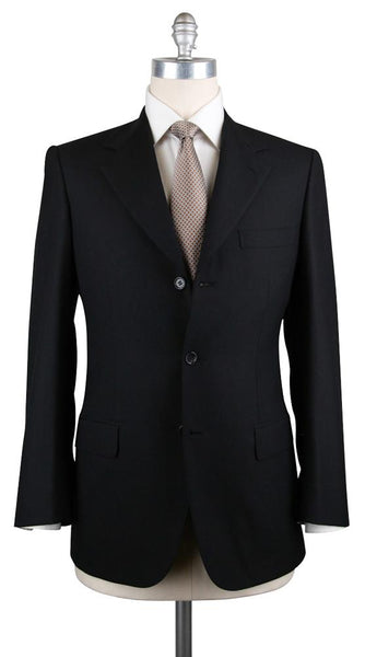 New $6300 Brioni Black Super 150's Solid Suit - (BR9711103R) - Parent