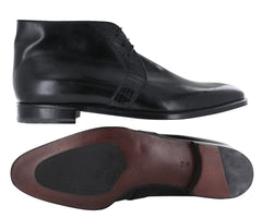 $2875 Brioni Black Leather Chukka Boots - (6O) - Parent