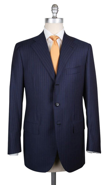 New $6300 Cesare Attolini Navy Blue Wool Blend Striped Suit - (CA810171) - Parent
