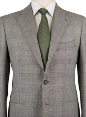 New $6300 Cesare Attolini Light Brown Wool Plaid Suit - (CA817173) - Parent