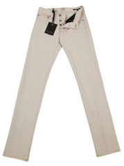 New $450 Cesare Attolini Cream Solid Jeans - Slim - ��_32/48 - (CA5557812030)