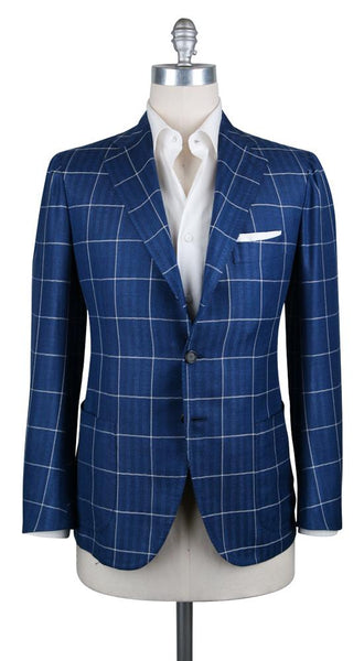 New $5400 Cesare Attolini Blue Window Pane Sportcoat - (CAGUJ35B21) - Parent