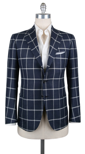 New $4500 Cesare Attolini Dark Blue Window Pane Sportcoat - (CAGUJ35B31) - Parent