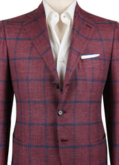 New $4500 Cesare Attolini Red Window Pane Sportcoat - (CAGUJ35R31) - Parent