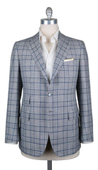 New $5100 Cesare Attolini Light Gray Plaid Sportcoat - (CAM321126217) - Parent