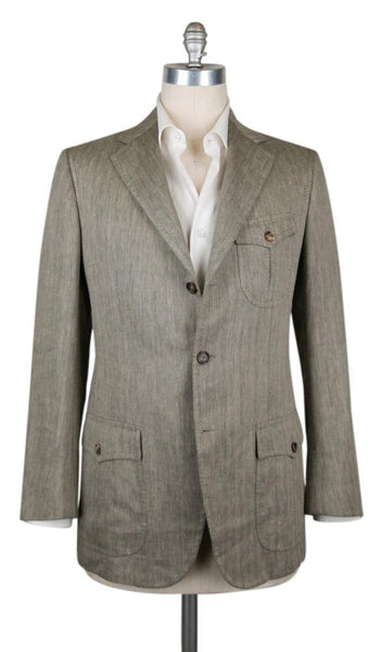 New $4800 Cesare Attolini Olive Green Sportcoat - (CA391132217) - Parent