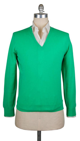 New $675 Cesare Attolini Green Sweater - V-Neck - (KW109T10KWJAI) - Parent