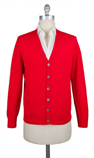 New $900 Cesare Attolini Red Sweater - Cardigan - (KW109T12POP) - Parent