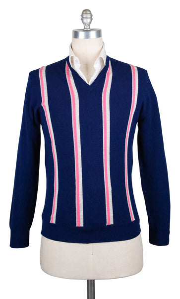 New $800 Cesare Attolini Blue Sweater - V-Neck - (KW109T21184) - Parent
