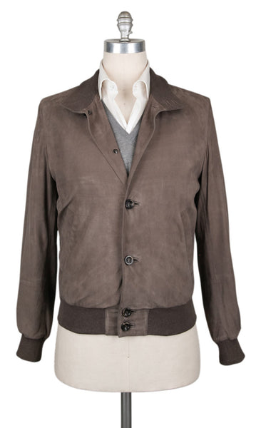 New $6728 Cesare Attolini Brown Leather Solid Jacket - (CA11811227) - Parent