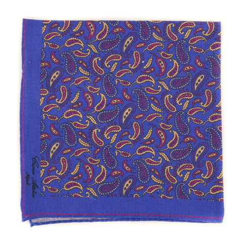 Cesare Attolini Purple Linen Pocket Square