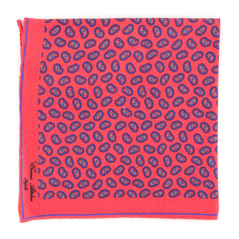 Cesare Attolini Red Linen Pocket Square