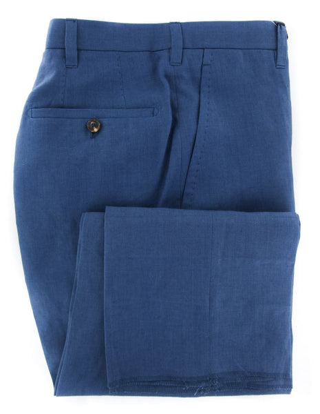 New $1100 Cesare Attolini Blue Solid Pants - Slim - (CAS10LA07B22) - Parent