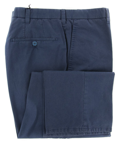 New $900 Cesare Attolini Blue Solid Pants - Slim - (CAS10CA17B31) - Parent
