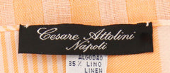 "$300 Cesare Attolini Orange Striped Long Scarf - 27.75"" x 69"" - (SC112F02Y21)"