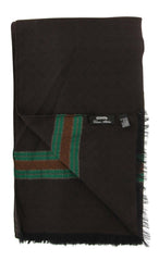 New $300 Cesare Attolini Dark Brown Fancy Scarf -  x  - (SC213F0425603)
