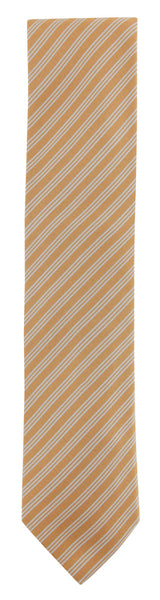 "$195 Cesare Attolini Orange Striped Silk Tie - 3.25"" x 57"" - (447)"