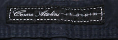 $450 Cesare Attolini Midnight Navy Blue Solid Cotton Blend Pants - Slim - (1045) - Parent