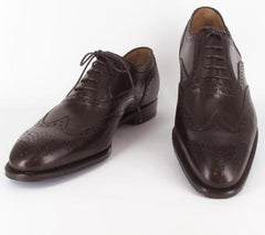 $900 Sutor Mantellassi Brown Shoes - Wingtip Lace Up - Size 7.5 (US) / 8.5 (EU)