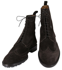 $1000 Sutor Mantellassi Dark Brown Suede Wingtip Boots - 9.5/8.5 - (CM2249)