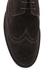 $1000 Sutor Mantellassi Dark Brown Suede Wingtip Boots - (CM2249) - Parent