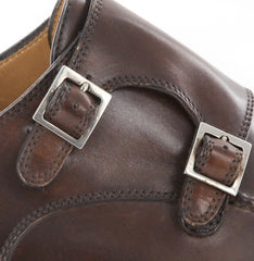 New $1050 Sutor Mantellassi Medium Brown Shoes - Double Monkstrap - 7/6