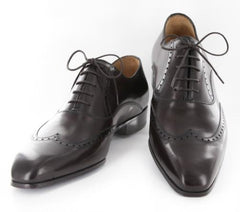 New $1050 Sutor Mantellassi Dark Brown Shoes - Lace Up Wingtip - 7/6