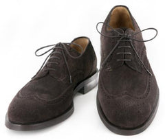 New $800 Sutor Mantellassi Brown Suede Shoes - Wingtip Lace up - 10/9