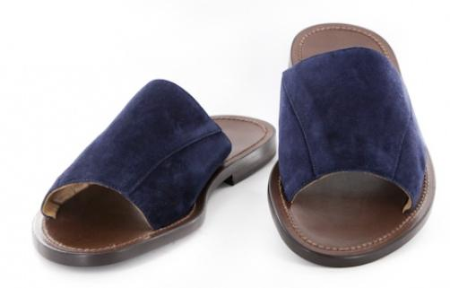 New $525 Sutor Mantellassi Navy Blue Suede Sandals 7/6