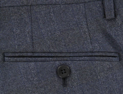 New $600 Donnanna Dark Blue Plaid Wool Pants - Slim - 40/56 - (LAZIO1073494)