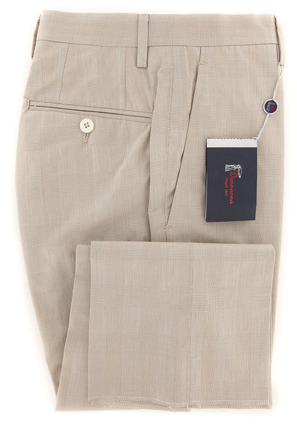 New $450 Donnanna Beige Plaid Pants - Slim - 40/56 - (LAZIO936175)