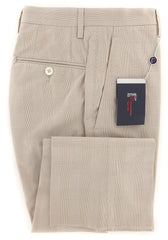 New $450 Donnanna Beige Plaid Pants - Slim - 36/52 - (LAZIO936175)