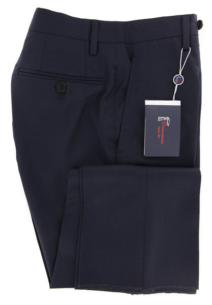 New $600 Donnanna Navy Blue Solid Pants - Slim - 30/46 - (LAZIO6018016652)