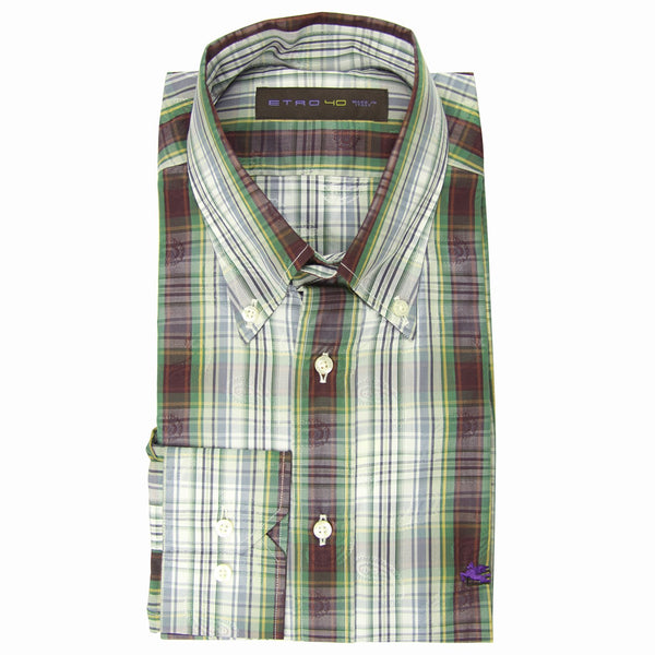 $550 Etro Green Plaid Cotton Shirt - Slim - (HP) - Parent