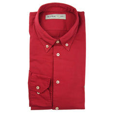 $550 Etro Red Solid Cotton Shirt - Slim - (MQ) - Parent