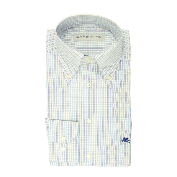 $550 Etro Blue Plaid Cotton Shirt - Extra Slim - (LN) - Parent