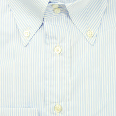 $550 Etro Light Blue Striped Cotton Shirt - Extra Slim - (LM) - Parent