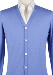 $1200 Fiori Di Lusso Light Blue Cashmere Blend V-Neck Cardigan - (728) - Parent
