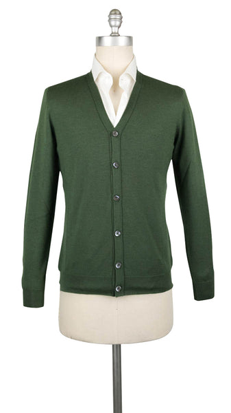 $1200 Fiori Di Lusso Green Cashmere Blend V-Neck Cardigan - (733) - Parent