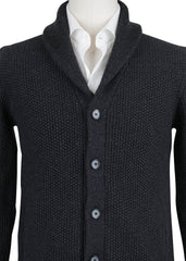 $1000 Fiori Di Lusso Dark Gray Wool Shawl Sweater - (779) - Parent