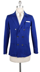 $800 Fiori Di Lusso Blue Cotton Solid Resort Jacket - M US/50 EU - (721)
