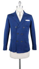 $800 Fiori Di Lusso Navy Blue Cotton Solid Resort Jacket - S US/48 EU - (723)