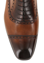 New $1250 Fiori Di Lusso Caramel Shoes - Wingtip Lace Ups - (BSNCRB) - Parent