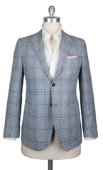 New $3900 Fiori Di Lusso Light Blue Plaid Sportcoat-38/48-(2018030618)