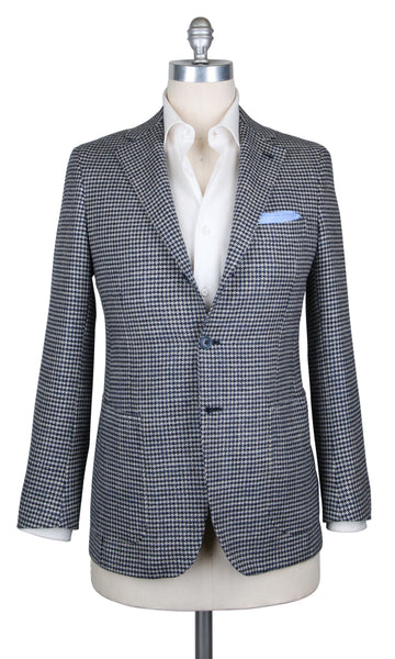 New $3900 Fiori Di Lusso Navy Blue Wool Blend Houndstooth Sportcoat -(201803067) - Parent